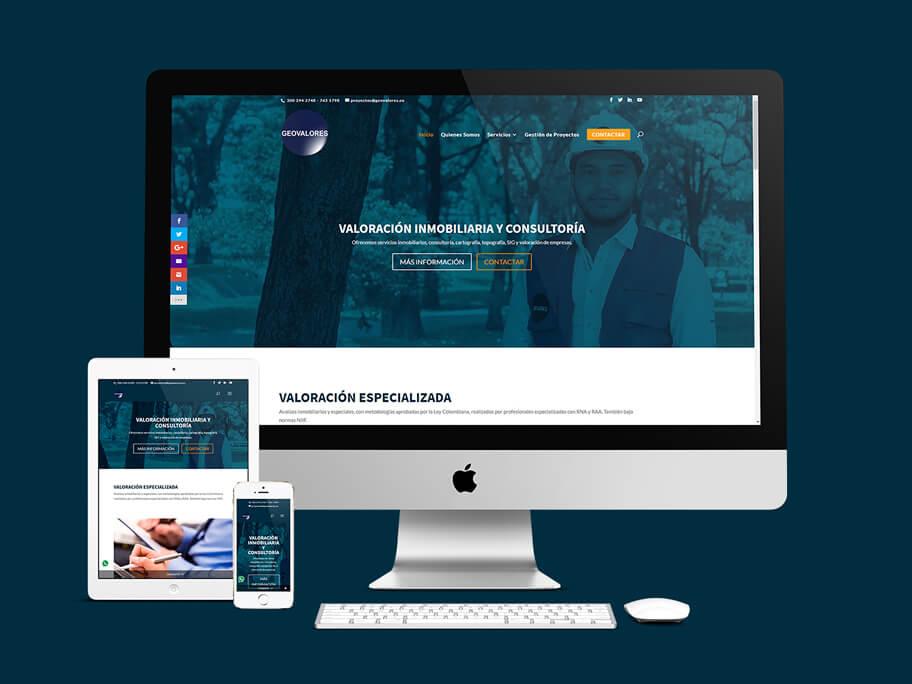 Geovalores, diseño de página web responsive en WordPress