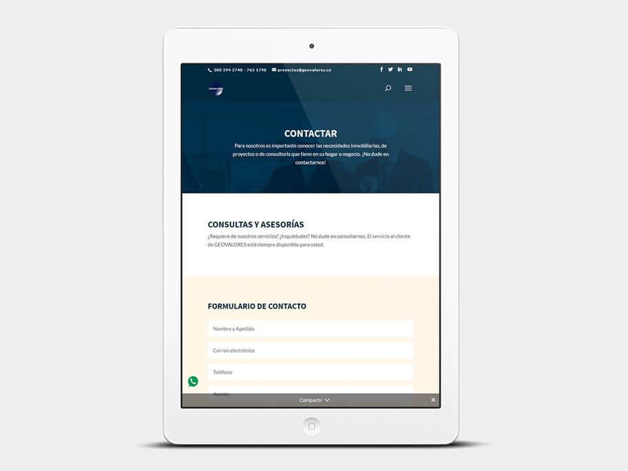 Geovalores, página de contactar, en tablets