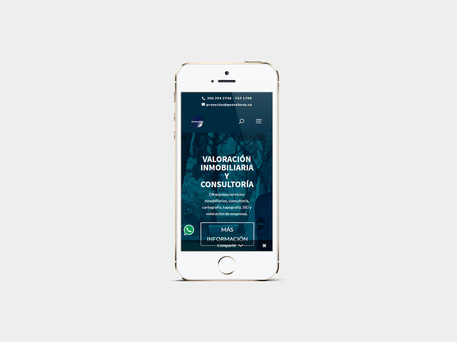 Geovalores, página de inicio, en smartphones