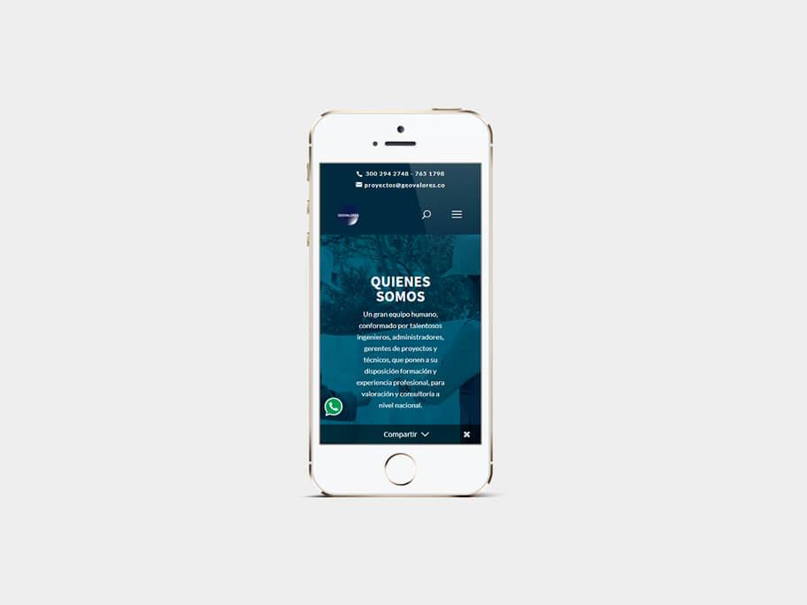 Geovalores, página de Quienes Somos, smartphone