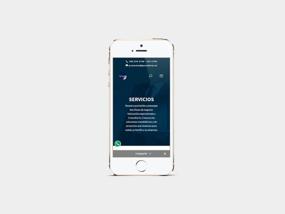 Geovalores, página de servicios, en smartphones