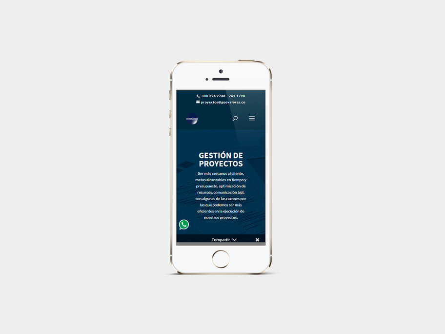 Geovalores, página de gestión de proyectos, en smartphones