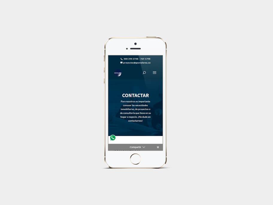 Geovalores, página de Contactar, smartphone