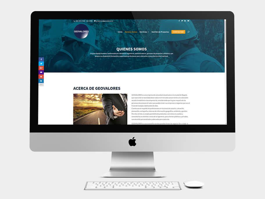 Geovalores, página de Quienes Somos, computador