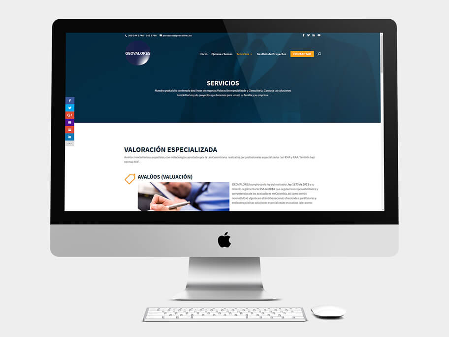 Geovalores, página de servicios, en computadores