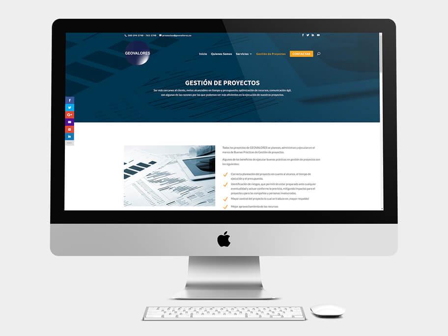 Geovalores, página de gestión de proyectos, en computadores