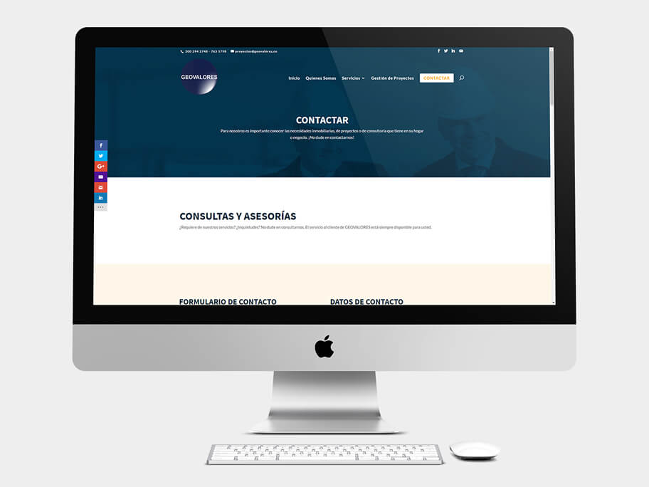Geovalores, página de Contactar, computador