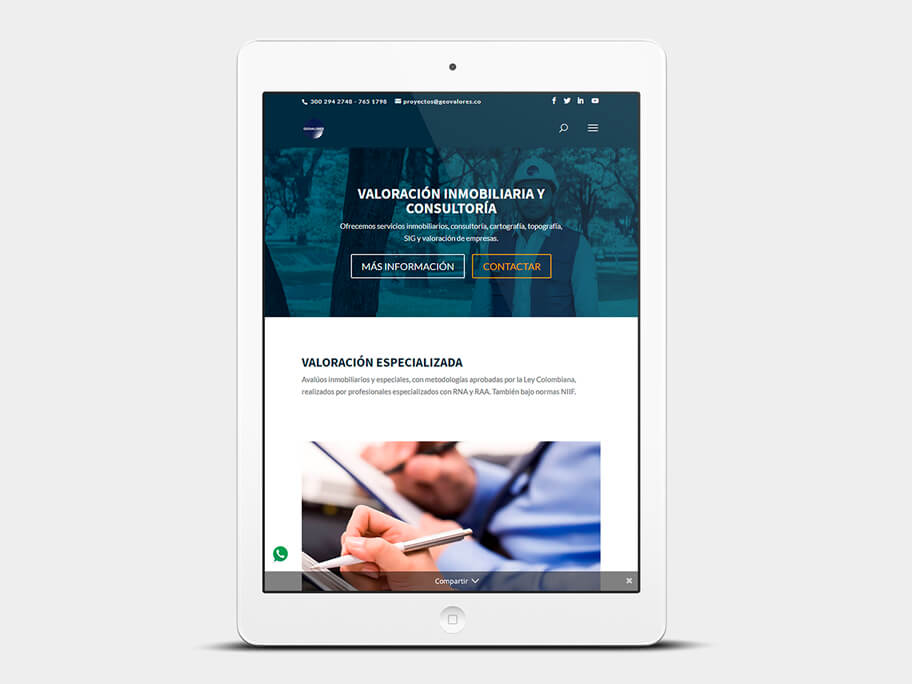Geovalores, página de Inicio, tablet