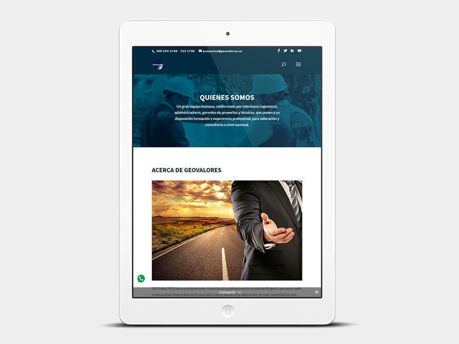 Geovalores, página de quienes somos, en tablets