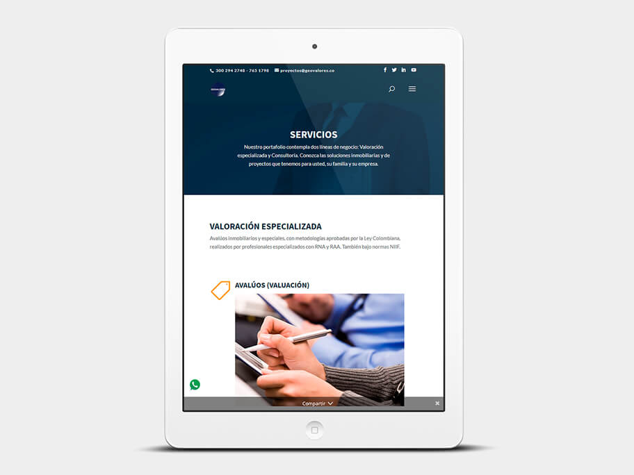 Geovalores, página de servicios, en tablets