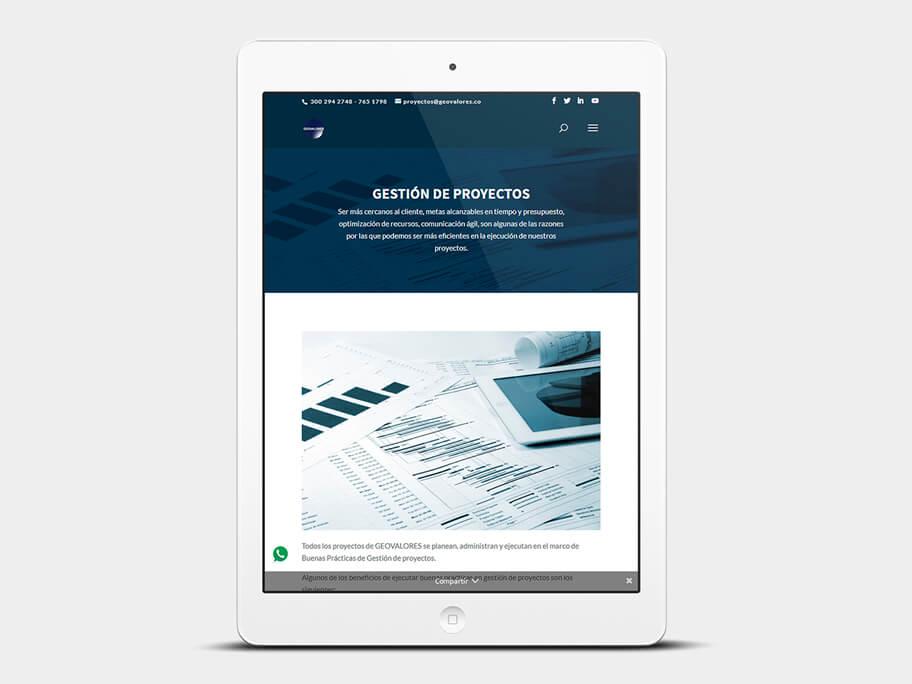 Geovalores, página de gestión de proyectos, en tablets