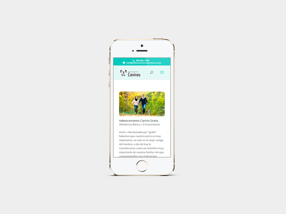 Adiestramiento Caninos, página de Resultados de búsqueda, smartphone