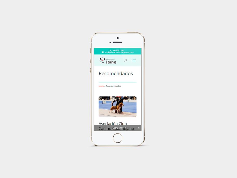 Adiestramiento Caninos, página de Recomendados, smartphone