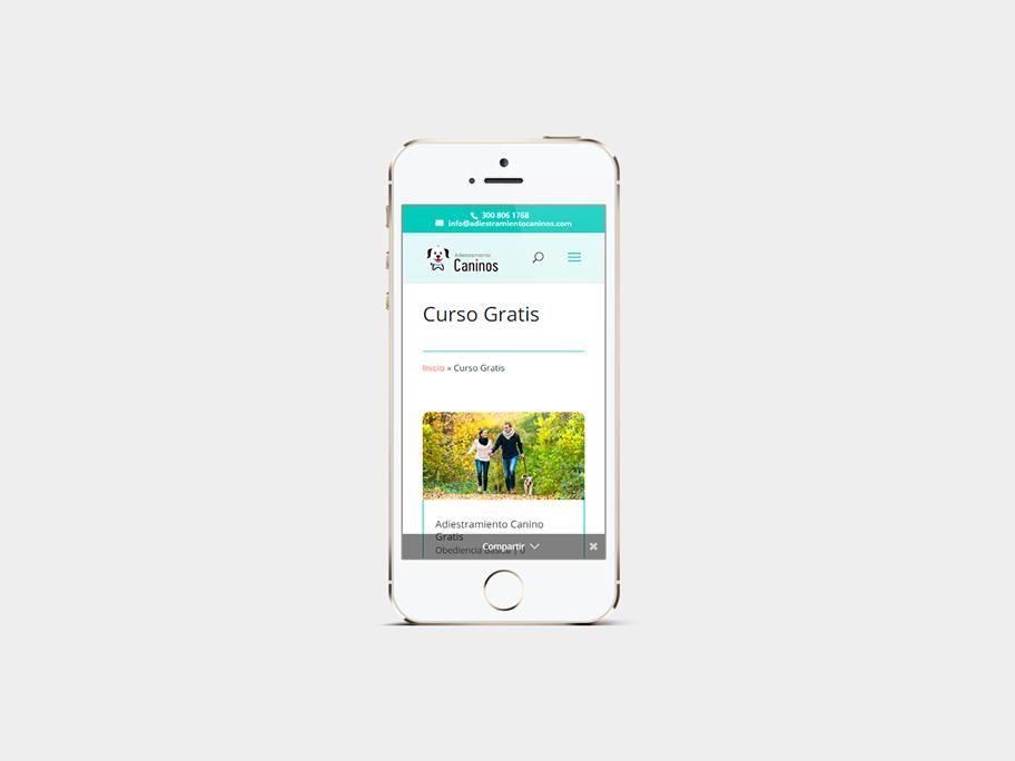 Adiestramiento Caninos, página de Curso Gratis, smartphone