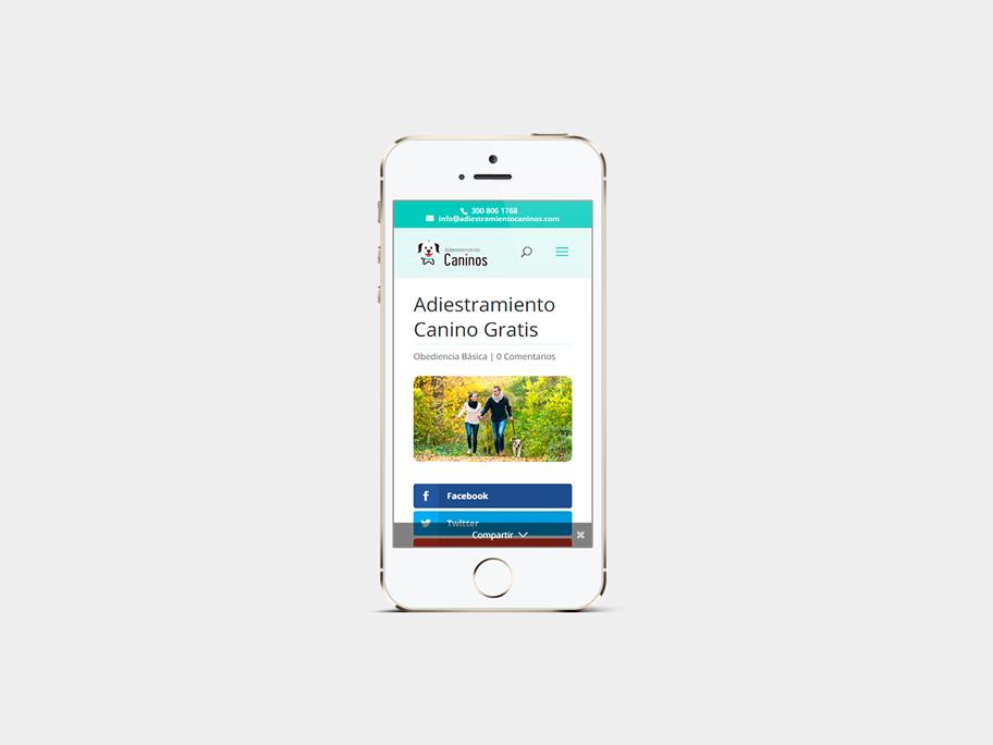 Adiestramiento Caninos, página de Artículo, smartphone